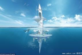 建筑师设计魔鬼鱼外形海上漂浮城市