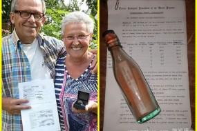 夫妇捡最古老漂流瓶 按地址寄出获1先令奖金