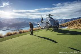 新西兰高尔夫球场建山顶 中途需乘直升机上山击球