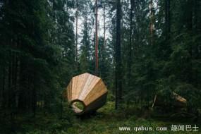 森林装巨型扩音器 游客聆听自然之音