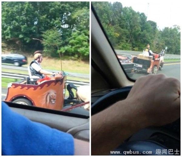 """美高速路惊现惹眼""""罗马战车""""惊呆众司机-趣闻巴士"""