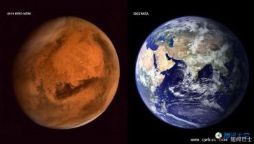 印度火星探测器发回精美火星照