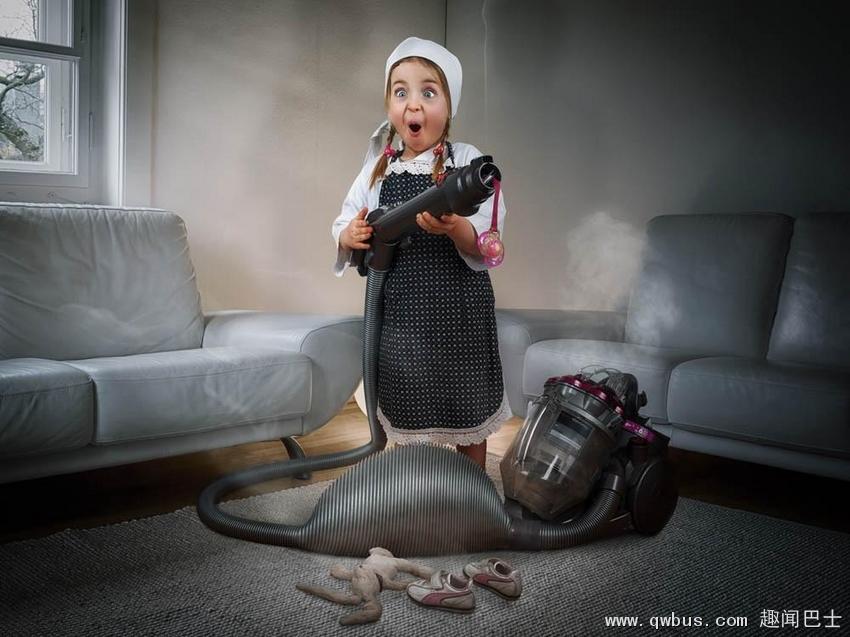 瑞士老爸为女儿创意疯狂童年写真-趣闻巴士