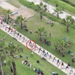 斗牛犬蹬滑板穿过30人拱形隧道创世界纪录