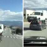 艺高人胆大:小车驮大车公路上狂奔