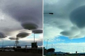 南非天空惊现怪云似成群的UFO