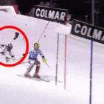 好险!无人机险些砸中滑雪运动员