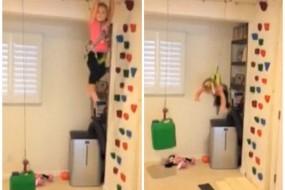 女童家中玩攀岩险摔伤 父母安全设施救命