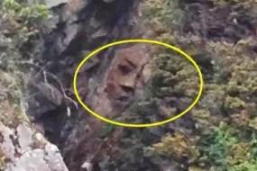 加拿大荒岛山壁发现一张神秘人脸