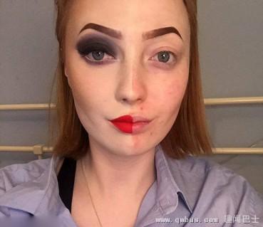 化妆半张脸女子自拍走红网络
