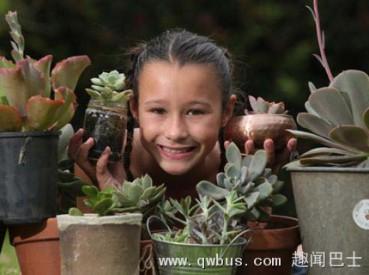 澳9岁女孩创业种多肉植物