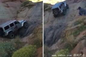 越野车爬上垂直悬崖