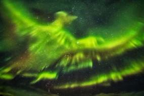冰岛极光爆发 天空惊现绿凤凰