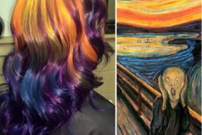 美发型师模仿著名画作 用头发创造染发造型