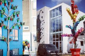 艺术家做3500个彩色鸟窝放在世界各大城市