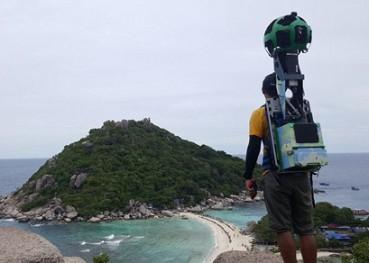 铁人三项选手背谷歌全景相机拍泰国美景
