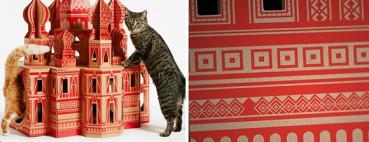 纸板做成有格调猫屋 猫咪瞬间藏身其中