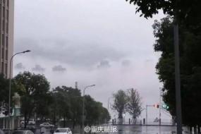 重庆万州暴雨过后江面出现幻影似海市蜃楼