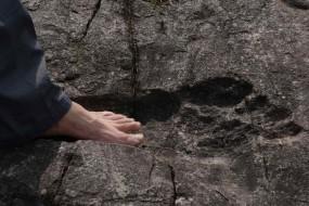 贵州从江岩石惊现神秘巨人脚印 有成人脚两倍大