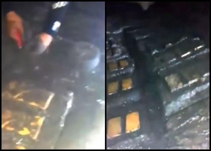 片段中,数名潜水员找到声称是山下宝藏的金砖。-趣闻巴士