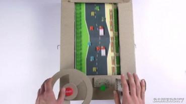 牛人用硬纸板做紧张刺激赛车游戏