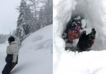 男子跳进雪地测量厚度瞬间被埋没