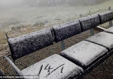 澳洲一月份炎炎夏日突然飘起雪花