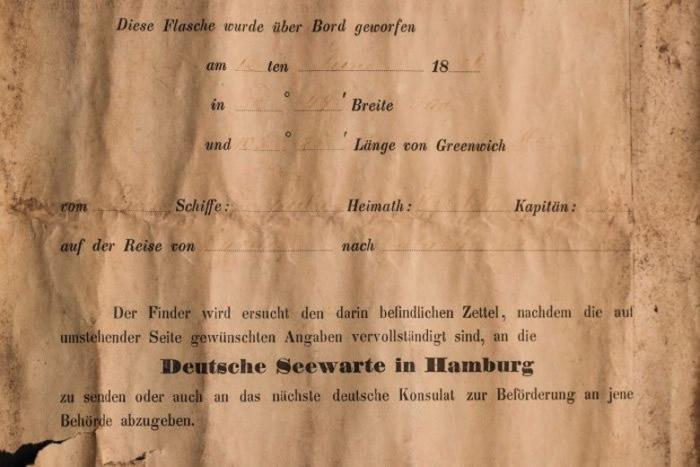 信中要求拾获者把信送回汉堡德国海军天文台或附近的德国领事馆。-趣闻巴士