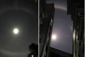 深圳夜晚彩虹与明月同挂天空