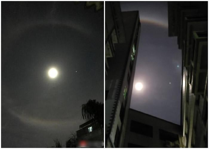 """深圳市民拍下的""""彩虹月""""奇观。-趣闻巴士"""