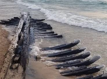 美湖边惊现140年前木船残骸