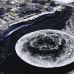 美河面惊现直径90米巨形冰圆盘